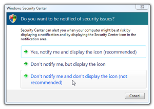 disable vista security notification